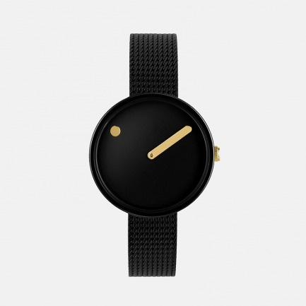 丹麦极简腕表-黑金色 | 米兰钢带 创意点线设计