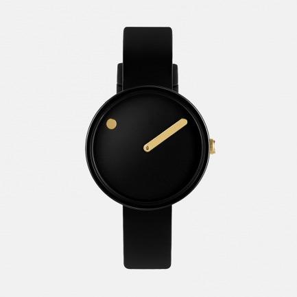 丹麦极简腕表-黑金色 | 硅胶表带 创意点线设计