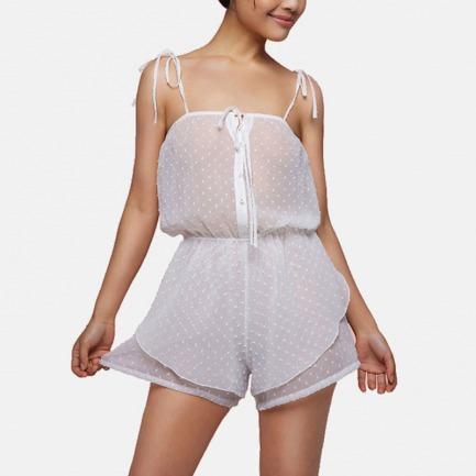 简约波点雪纺连体裤 | 绑带式肩带设计 波点图案简约可爱