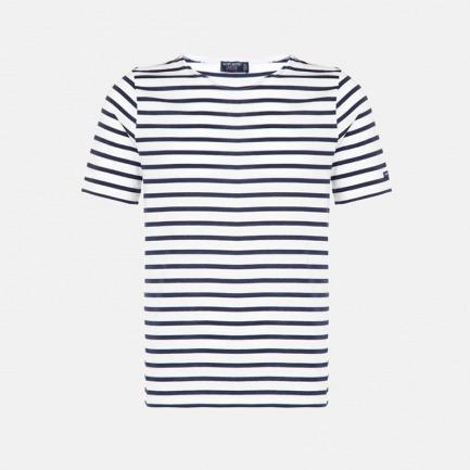 圆领全棉短袖 白底蓝条纹 | 男女同款 质地轻薄 衣橱必备单品