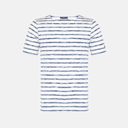 圆领全棉短袖 白底渐变蓝条纹 | 衣橱必备单品 众多明星同款