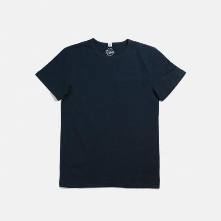 全棉复古运动蓝T恤 有口袋 | 美式经典款 舒适修身 透气耐洗