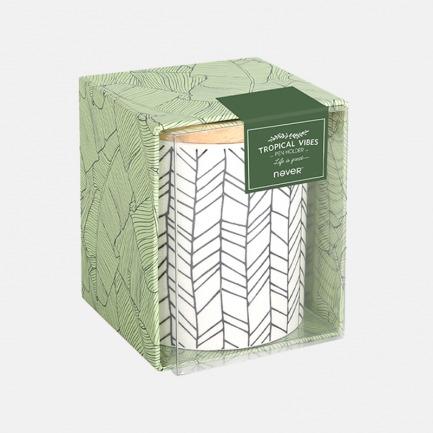 陶瓷笔筒 北欧绿植主题 | 清新简约的外表 附赠木质圆盖