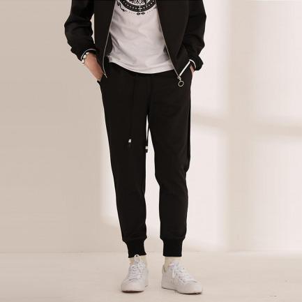 丝绒拼接针织长裤 | 纯黑款时尚简约 丝绒拼接 别致有型