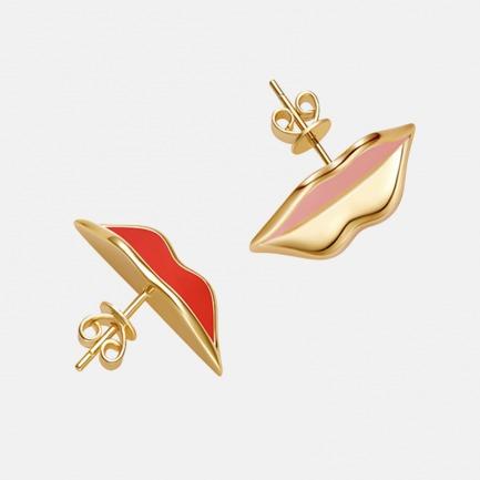 甜言蜜语 唇形珐琅耳环 | 银镀18K金 精致珐琅填色
