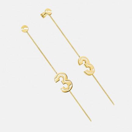 数字3耳环耳线 别致趣味 | 银镀18K金 搭配精致珐琅