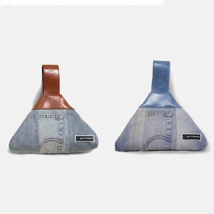 牛仔布拼接手提三角包 | 知名设计师环保创意改造