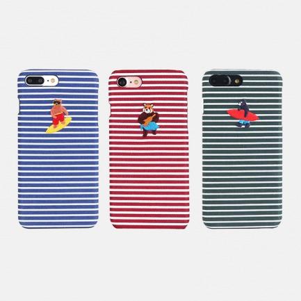 iPhone手机壳 可爱熊哥款 | 时尚可爱刺绣&条纹布料