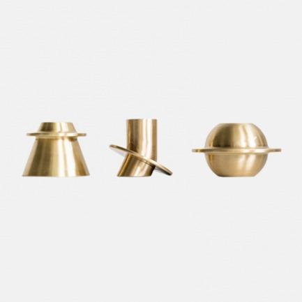 星球黄铜烛台 三件套   纯铜材质手感好 设计感强