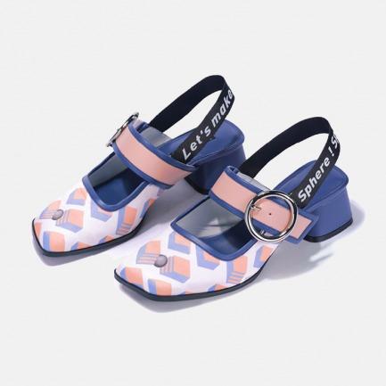 印花粗跟织带玛丽珍鞋 | 小众独特又具艺术感的美鞋