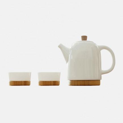 骨瓷茶壶茶杯套装 竹质底座 | 一壶两杯 通透骨瓷高颜值