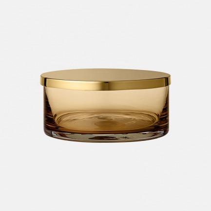 带盖子的多色玻璃储物罐 | 黄铜和玻璃的美妙组合