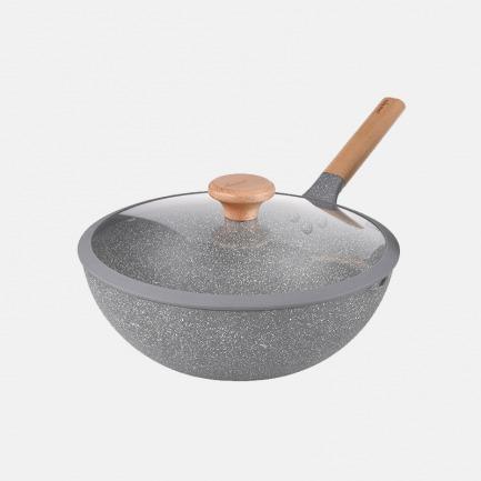轻巧简约麦饭石炒锅 5.2L | 坚硬耐磨传热快 安全不粘底