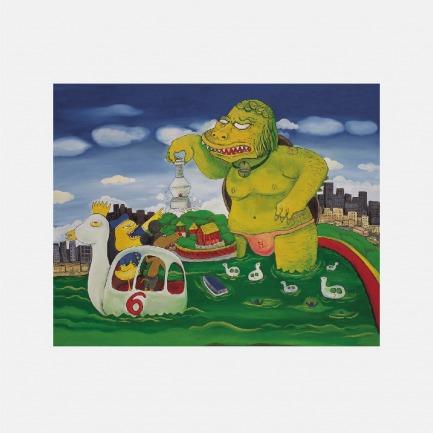 北海公园的怪兽   彭磊签名版画