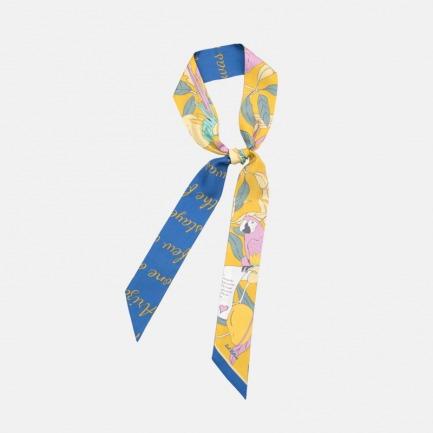 鹦鹉情书印花真丝窄丝巾   5A级优质桑蚕丝缝制