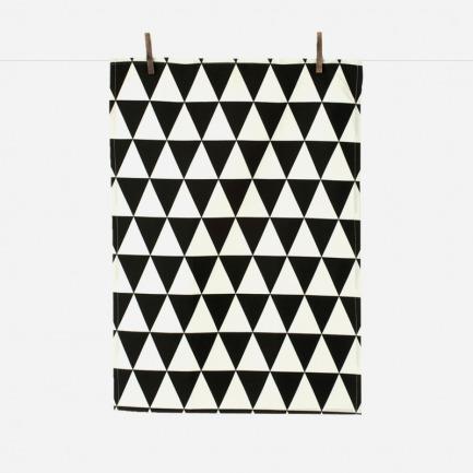 黑白三角几何花纹茶巾