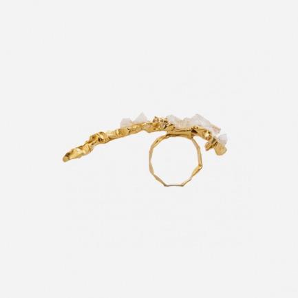金色玫瑰石英石装饰长戒