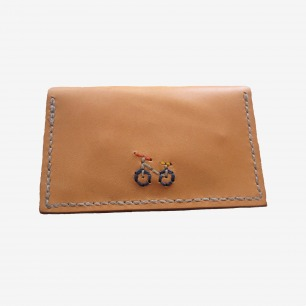Henry Cuir Beguelin Barneys Vachetta Embroidered Card Wallet