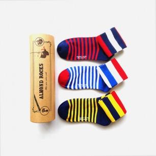 英伦三色条纹中筒袜套装(黄红蓝)
