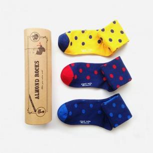 英伦三色波点中筒袜套装(黄红蓝)
