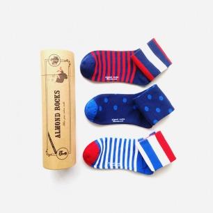 英伦条纹波点中筒袜套装(红白蓝色系)