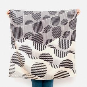 斑点现代简约丝巾日式风吕敷(灰色)