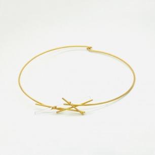 金色光纤造型项圈  | 精致简约 925银镀18K金