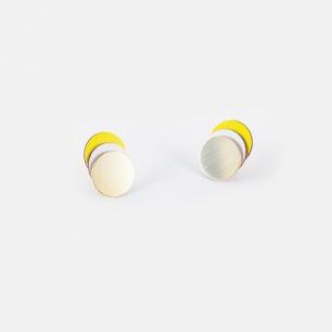 分层圆耳钉-黄色