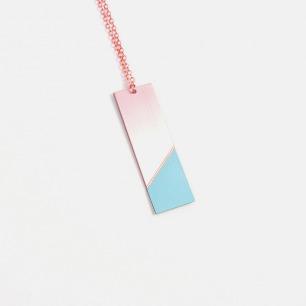 长方形双材质拼色项链-薄荷绿