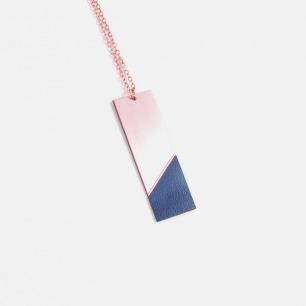 长方形双材质拼色项链-海军蓝