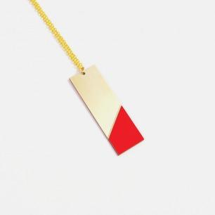 长方形双材质拼色项链-红色