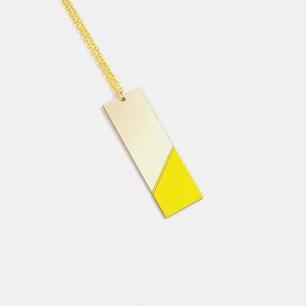 长方形双材质拼色项链-黄色