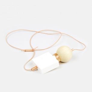 多材质几何组合项链-白图腾(裸色线)