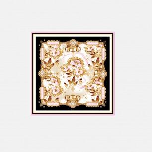 Princess系列 皇冠花纹真丝方巾(经典款)  ssjk15-028