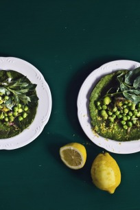 Golubka's The Vibrant Table: Spinach, Quinoa Crepes with Buttery Saffron Peas, Fava & Fava Leaves via Princess