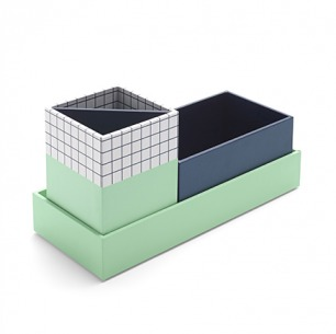 Paperboard Navy + Mint Checka Nesting Desk Set