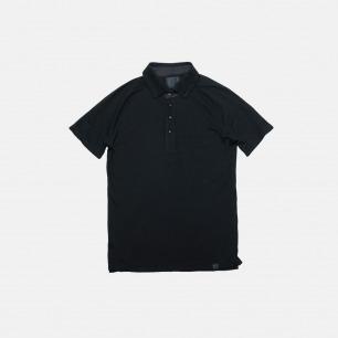黑色简约修身插肩短袖POLO衫