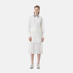 白色网格太空棉半裙
