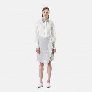 立体荷叶造型浅灰棉毛半裙