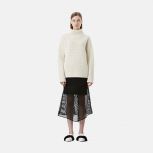 黑色太空棉拼网格半裙