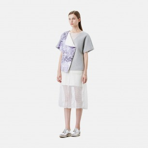 不对称印花下摆白色太空棉半裙