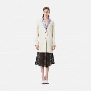 印花领米白中长羊毛大衣