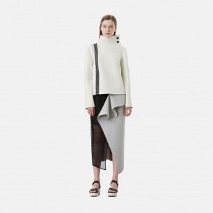 浅灰立体造型太空棉拼黑色网格长半裙