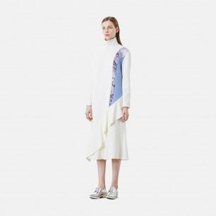 未来感荷叶装饰白色连衣裙