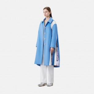 伞状大摆印花拼接浅蓝双面羊毛长大衣