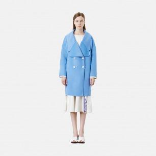 浅蓝大廓形双面羊毛中长款大衣