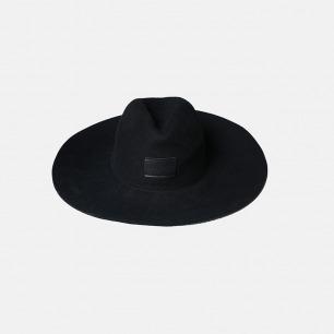 简约黑色羊毛呢百搭大檐礼帽