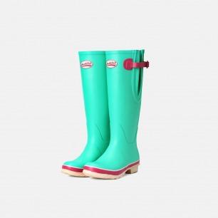 英伦高筒马卡龙粉绿色雨靴