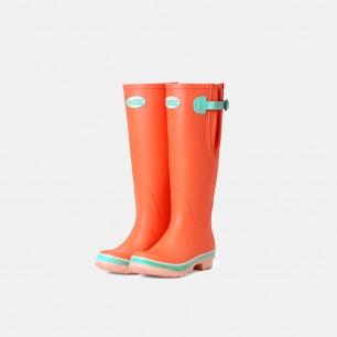 英伦高筒马卡龙橙色雨靴