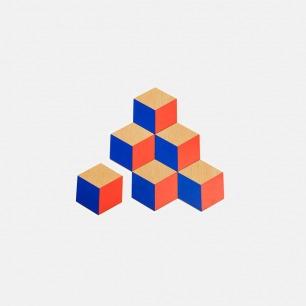木质几何造型隔热垫(红/蓝)